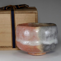 sale: AKA RAKU CHAWAN Japanese Pottery Tea Bowl w Box by Rakunyu