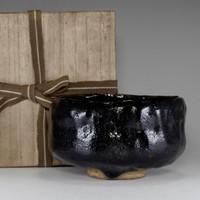 sale: KURO RAKU CHAWAN Antique Japanese Pottery Tea Bowl w Box by KATO SEKISHUN #2293