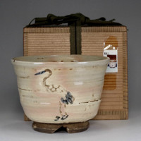 sale: CHAWAN antique pottery tea bowl in Kiyomizu ware by Rokubei III #2296