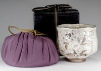 sale: E-SHINO CHAWAN - Antique pottery tea bowl by Hirasawa Kuro #2317