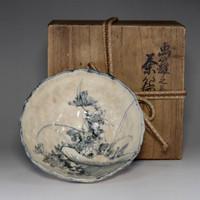 sale: SOMETSUKE CHAWAN - Kiyomizu pottery tea bowl by Takahashi Dohachi II #2320
