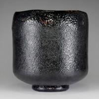 sale: KURO RAKU CHAWAN Japanese Pottery Tea Bowl Signed