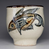 sale: YUNOMI - Pottery Tea Cup in Ryukyu Tsuboya ware by Kinyo Jiro