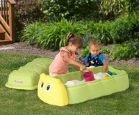 Simplay3 Caterpillar Sandbox with fun colors blends with backyard surroundings and is the center of play for boys and girls ages 2 and up!