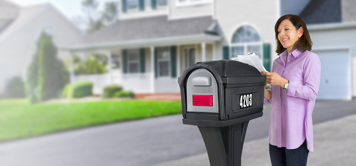 Simplay3 Stylemaster Mailboxes are made with heavy duty construction and stand up to the elements - front and rear access magnetic doors keep contents secure and dry