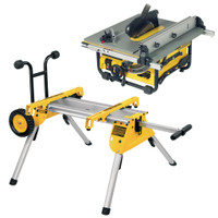 "DeWALT DW745 10"" Compact Job Site Table Saw with legs"