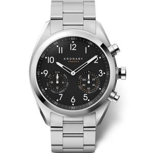Kronaby Apex Bluetooth Steptracker Travel Black Dial Stainless-Steel Bracelet Hybrid Smartwatch A1000-3111