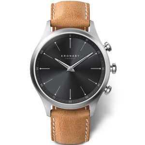 Kronaby Sekel Bluetooth Steptracker Travel Black Dial Brown Leather Strap Hybrid Smartwatch A1000-3123