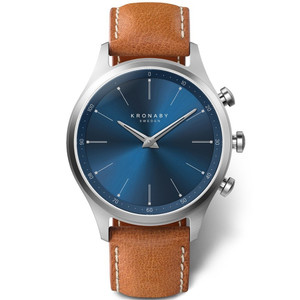 Kronaby Sekel Bluetooth Steptracker Travel Blue Dial Brown Leather Strap Hybrid Smartwatch A1000-3124