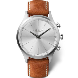 Kronaby Sekel Bluetooth Steptracker Travel Silver Dial Brown Leather Strap Hybrid Smartwatch A1000-3125