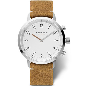 Kronaby Nord Bluetooth Steptracker Travel White Dial Leather Strap Hybrid Smartwatch A1000-3128