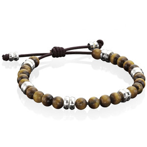 Fred Bennett Tigers Eye Beads Brown Leather Adjustable Bracelet B3905
