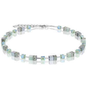 Coeur De Lion GeoCube Stainless-Steel Amazonite & Haematite Light Green Necklace 4017-10-0520