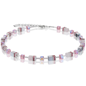 Coeur De Lion GeoCube Stainless-Steel Light Rose Haematite & Rose Quartz Necklace 4017-10-1920