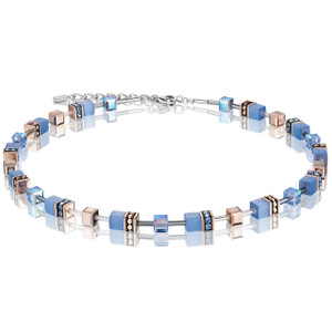 Coeur De Lion GeoCube Stainless-Steel Light Blue Necklace 4016-10-0720