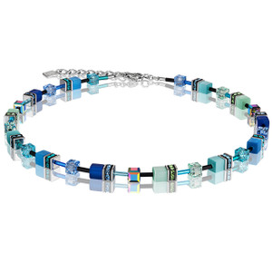 Coeur De Lion GeoCube Stainless-Steel Blue & Green Necklace 2838-10-0705