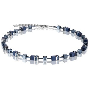 Coeur De Lion GeoCube Stainless-Steel Navy Blue Necklace 4322-10-0722