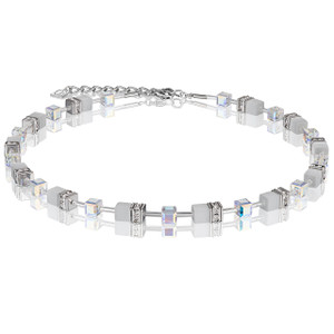 Coeur De Lion GeoCube Stainless-Steel White Frosted Crystal Necklace 4322-10-1400