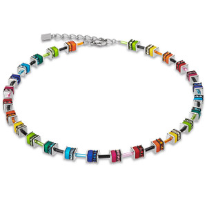 Coeur De Lion GeoCube Stainless-Steel Swarovski Crystals Small Multi Coloured Necklace 4409-10-1500