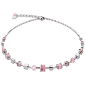 Coeur De Lion Stainless-Steel Swarovski Crystals Pave Rose Necklace 4893-10-1900