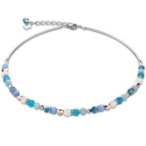 Coeur De Lion Swarovski Crystals, Amazonite & Striped Agate Turquoise Blue Necklace 4914-10-0607