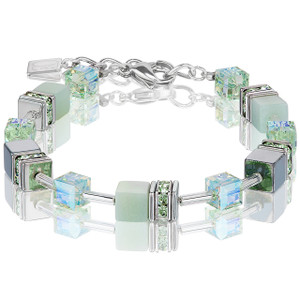 Coeur De Lion GeoCube Stainless-Steel Amazonite & Haematite Light Green Bracelet 4017-30-0520