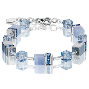 Coeur De Lion GeoCube Stainless-Steel Chalcedony & Haematite Light Blue Bracelet 4017-30-0720