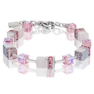 Coeur De Lion GeoCube Stainless-Steel Light Rose Haematite & Rose Quartz Bracelet 4017-30-1920