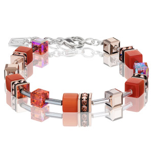Coeur De Lion GeoCube Stainless-Steel Dark Orange Bracelet 4016-30-0221