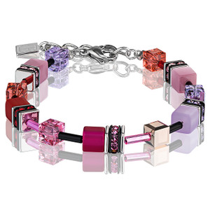 Coeur De Lion GeoCube Stainless-Steel Multicolour Red Rose Bracelet 2838-30-0325