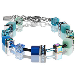 Coeur De Lion GeoCube Stainless-Steel Blue Green Bracelet 2838-30-0705