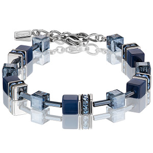 Coeur De Lion GeoCube Stainless-Steel Navy Blue Bracelet 4322-30-0722