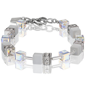 Coeur De Lion GeoCube Stainless-Steel White Frosted Crystal Bracelet 4322-30-1400