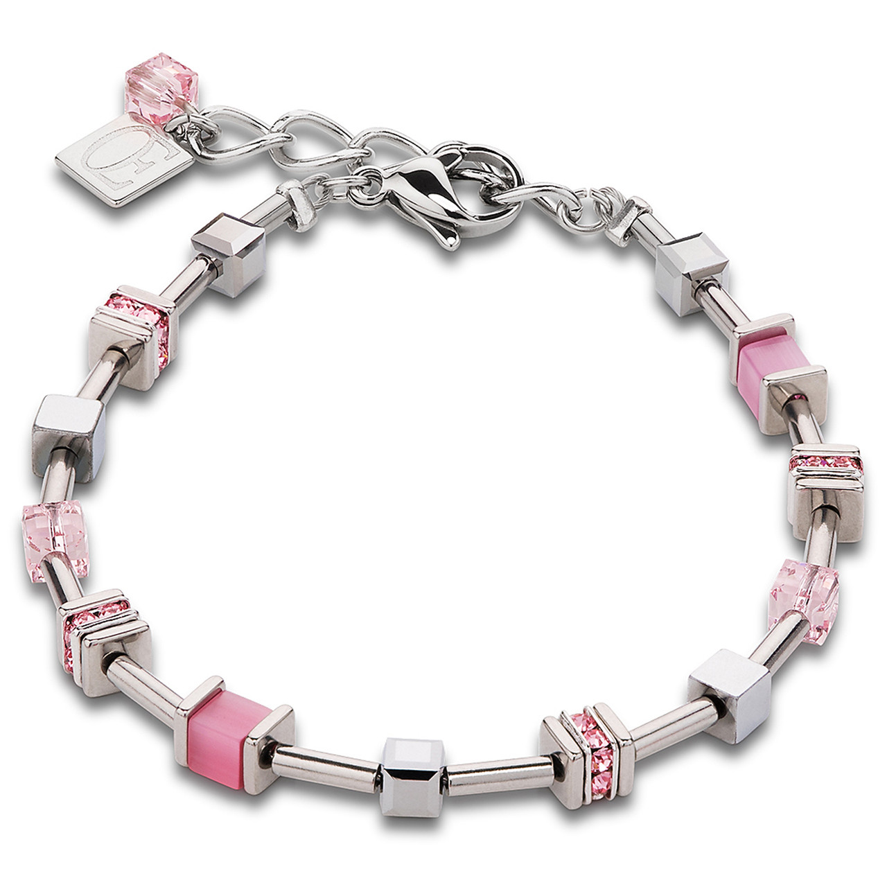Coeur De Lion Stainless-Steel Swarovski Crystals Pave Rose Bracelet  4893-30-1900 4ade3b4cfc19