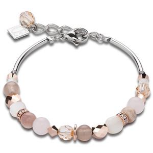 Coeur De Lion Swarovski Crystals, Rose Quartz & Agate Beige Rose Bracelet 4914-30-1019