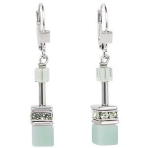 Coeur De Lion GeoCube Stainless-Steel Amazonite & Haematite Light Green Drop Earrings 4017-20-0520