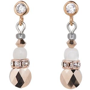 Coeur De Lion Swarovski Crystals, Rose Quartz & Agate Beige Rose Earrings 4914-21-1019