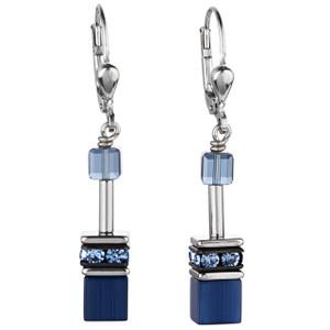 Coeur De Lion GeoCube Stainless-Steel Navy Blue Drop Earrings 4322-20-0722
