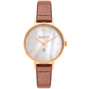 Acctim Bonny Women's Radio Controlled Brown Leather Strap Watch 60516