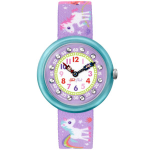 Flik Flak Magical Unicorns Children's Quartz Purple Dial Watch FBNP033