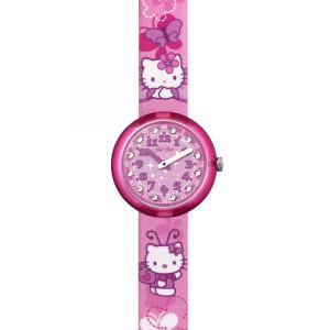 Flik Flak Hello Kitty Butterfly Children's Quartz Pink Strap Watch FLNP005