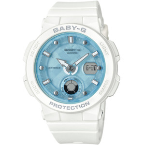 Baby-G Ladies Aqua Dial White Strap Analog-Digital LED Backlight Watch BGA-250-7A1ER