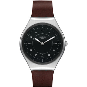 Swatch Skin Irony Skinbrushed Unisex Quartz Black Dial Leather Strap Watch SYXS102