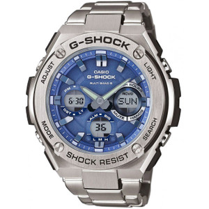G-Shock Steel Solar Radio Controlled Blue Dial Bracelet Watch GST-W110D-2AER