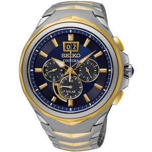 Seiko Coutura Solar Sapphire Crystal Blue Dial Two-Tone Bracelet Watch SSC642P1
