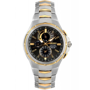 Seiko Coutura Solar Chronograph Alarm Sapphire Crystal Two-Tone Bracelet Watch SSC376P9