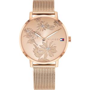 Tommy Hilfiger Women's Pippa Floral Rose Gold Mesh Bracelet Watch 1781922