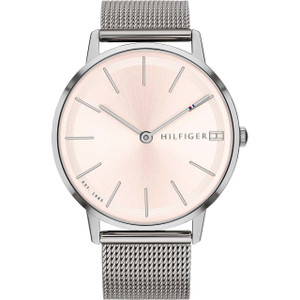Tommy Hilfiger Women's Pippa Pink Dial Stainless-Steel Mesh Bracelet Watch 1781935