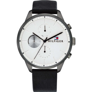 Tommy Hilfiger Men's Chase Silver And White Dial Leather Strap Watch 1791489