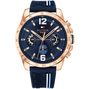 Tommy Hilfiger Men's Decker Navy Dial Silicone Strap Watch 1791474